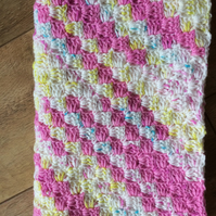 "24"" square crocheted Baby Blanket in unicorn colour theme"