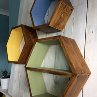 Handmade geometric hexagonal shelves Set of 3