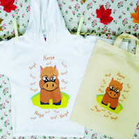 Horse Hoodie in Lightweight Cotton  with matching Natural Cotton Bag