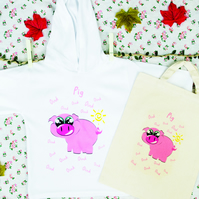 Pig Hoodie in Lightweight Cotton with matching Natural Cotton Bag