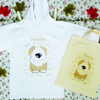 Sheepdog Hoodie in Lightweight Cotton with matching Natural Cotton Bag
