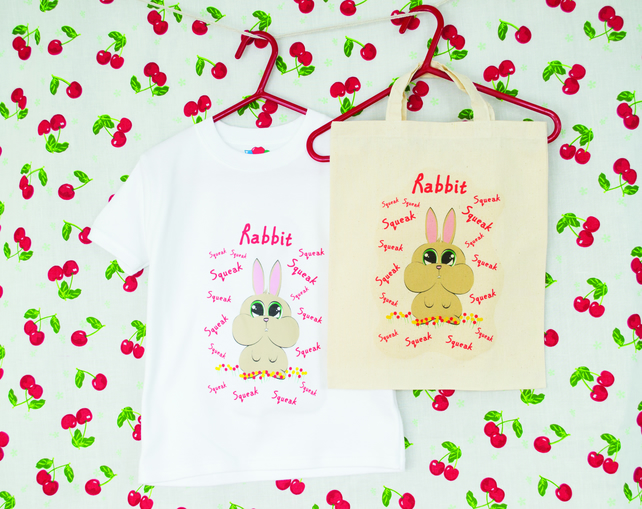 Rabbit Tshirt in Lightweight Cotton with matching Natural Cotton Bag