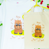 Horse TShirt in Lightweight Cotton with matching Natural Cotton Bag