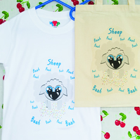 Sheep Tshirt in Lightweight Cotton with matching Natural Cotton Bag