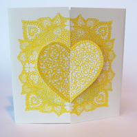 Locking hearts, hand silkscreen printed valentines card,