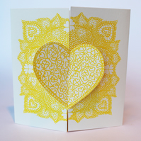 Locking hearts, hand printed valentines card, no message