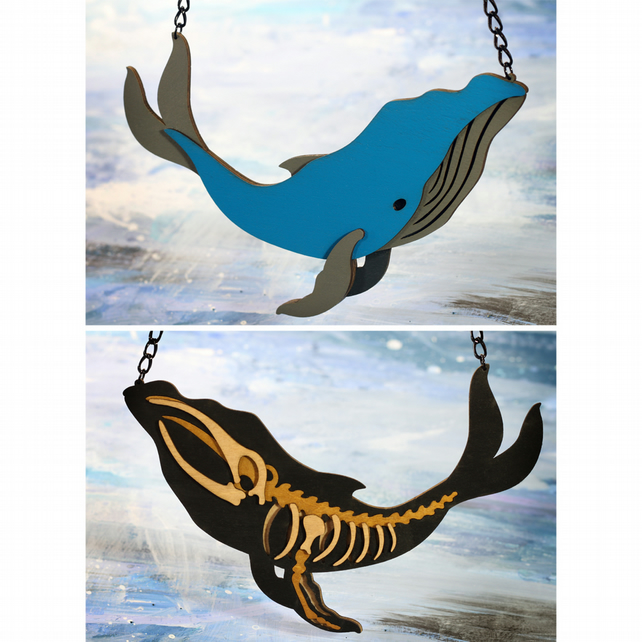 Reversible Whale Statement Necklace - Ocean Collection