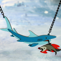 Shark and Bait necklace - Ocean Collection