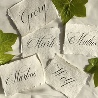Wedding Place Cards Guest Names on Handmade Paper