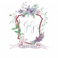 Custom Watercolour Wedding Crest, Handprinted Monogram Crest