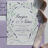 Custom Calligraphy Wedding Invitation Floral Wreath Lilac