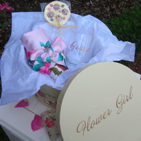 personalised bridesmaid flower girl hat box gift set