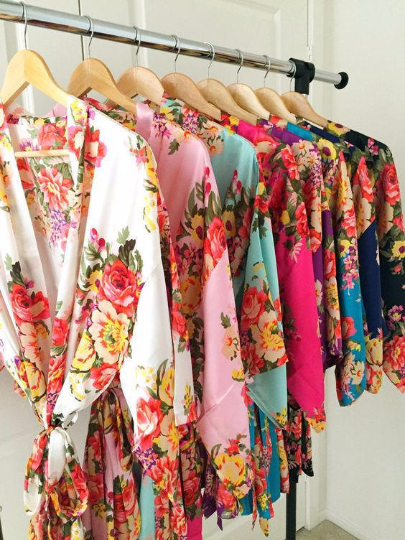 Bridesmaid gift ,  bridesmaid robes , floral bridesmaid kimono robes ,