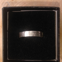 Silver hammered texture ring