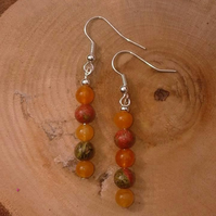 Orange beaded earrings