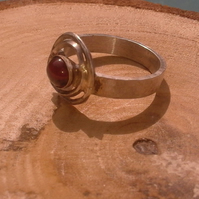 Twin circle garnet and silver ring