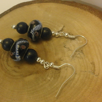 Deep blue glass bead earrings