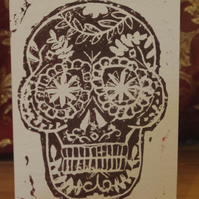 Halloween sugar skull hand printed card