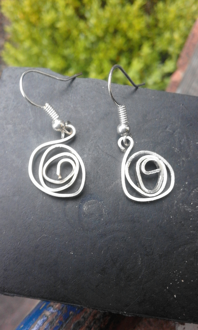 Stylised silver rose earrings