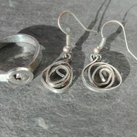 Silver rose spiral design ring and earrings set, jewelry set, earrings, ring,