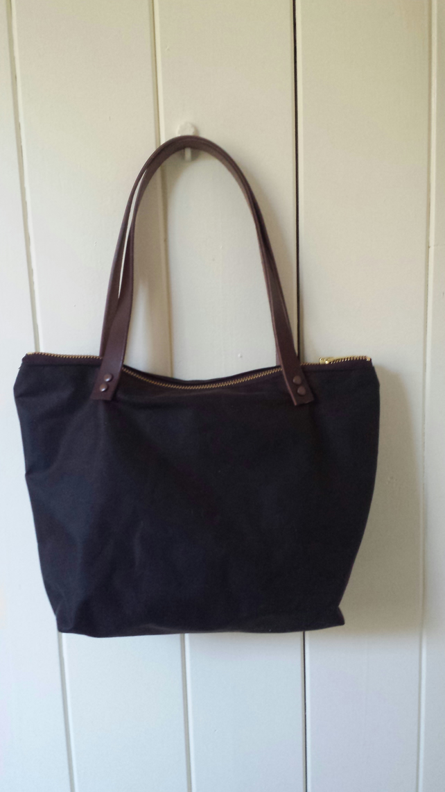 Dark brown waxed canvas handbag