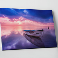 SEASCAPE BOAT SUNSET COLOUR CANVAS WALL HANGING PICTURE IMAGE PINK PURPLE BLUE
