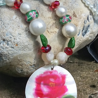 Pearl Necklace with Painted Shell Pendant