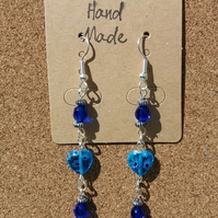 Heart & Blue Bead Earrings