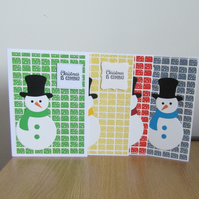 BB Xmas 015 Set of 4 Hand Decorated Christmas Cards