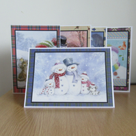 BB Xmas 014 Set of 5 Hand Decorated Christmas Cards