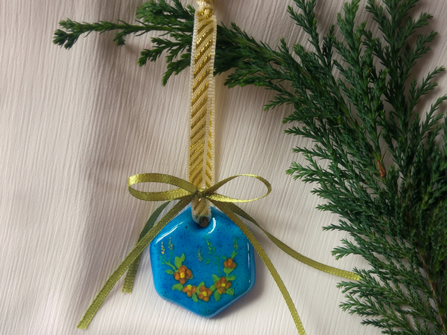 Handmade Christmas Tree Decoration, Painting on Persian Blue Ceramic