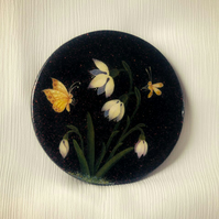 Love Snowdrops! Painted Paper Mache Compact Mirror