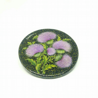 Beauty of Thistles! Painted Paper Mache Compact Mirror