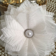 Handmade White Fabric Flower with Detailed Faux Pearl Center x 2