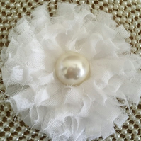 Shabby Chic Handmade Fabric Flower with Large Pearl Centerpiece  - White