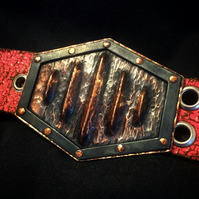 Handmade copper and steel belt buckle. Vintage, biker, geometric belt buckle