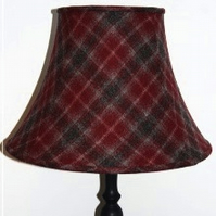 Deep Red Plaid Fabric Lampshade