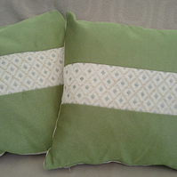 Pair of Attractive Silk and Mixed Fibre Cushion Covers