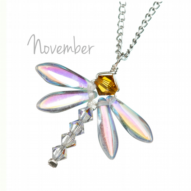 November birthday gift - dragonfly pendant necklace with Topaz birthstone