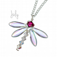 Silver Dragonfly Necklace with July Birthday birthstone - Ruby and crystal
