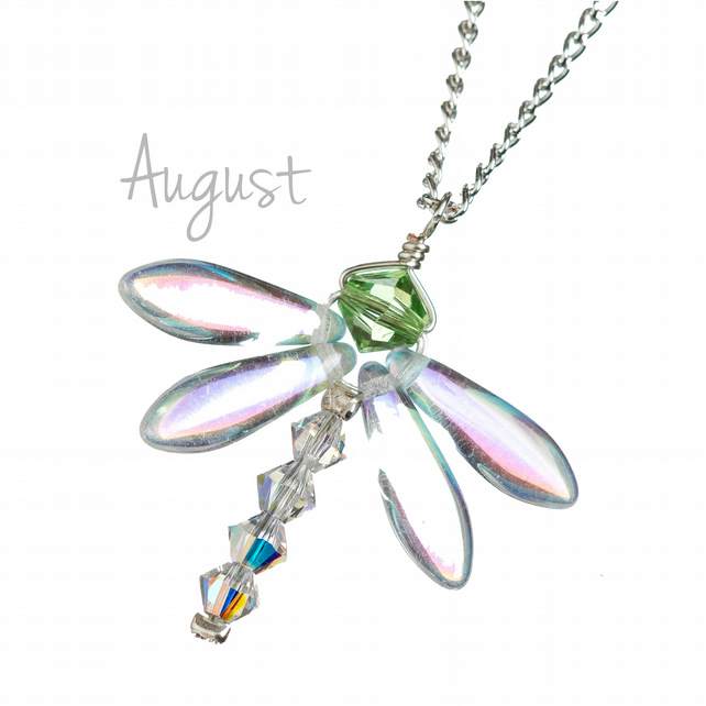 Silver August birthstone necklace with a crystal Peridot green dragonfly pendant