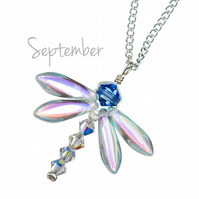 Dragonfly necklace silver with September birthday birthstone - sapphire crystal