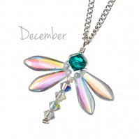 December birthday necklace with dragonfly pendant and December birthstone