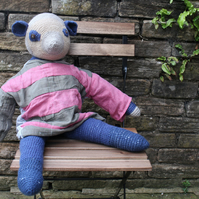 TRG Collectable, Handmade Crocheted Bear with Removable Patchwork T-shirt