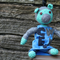 TRG Collectable Mini, Handmade Crocheted Bear with Removable Vest