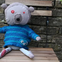 TRG Collectable, handmade fabric bear with knitted removable blue stripe jumper.