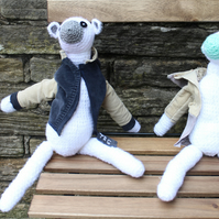 TRG Collectable Mini, Handmade Crocheted Polar Bears with Removable Cord Coats.