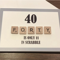 Scrabble 40th Greetings Card