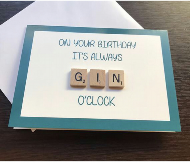 Scrabble Gin Greetings Card