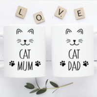 Cat Mum and Cat Dad  Mug Set